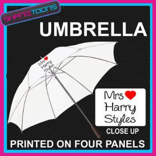 "MRS HARRY STYLES LADIES DESIGN WHITE 30"" UMBRELLA LONG HANDLE"